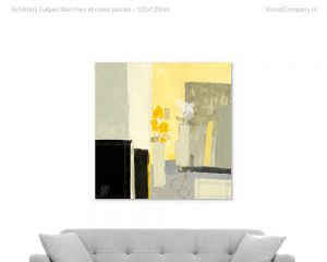 schilderij tulipes blanches et roses jaunes