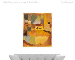 schilderij twee kamelen en een ezel