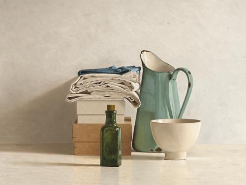 schilderij two boxes cloths bottle jug and bowl