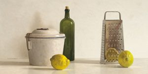 schilderij two lemons rasp bottle and pot