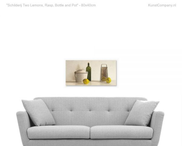 schilderij two lemons rasp bottle and pot