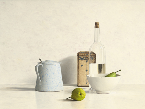 schilderij two pears bottle can and jug