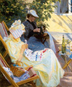 schilderij two women in the garden