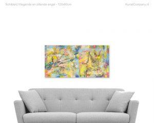 schilderij vliegende en zittende engel