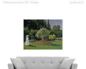 schilderij vrouw in een tuin