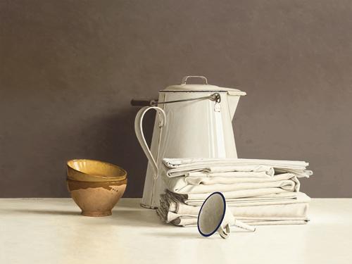 schilderij white can and white cloths