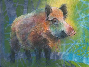 schilderij wildzwijn