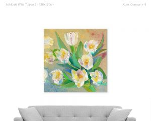 schilderij witte tulpen