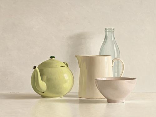 schilderij yellow teapot bottle bowl and jug
