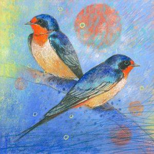 schilderij zwaluwen