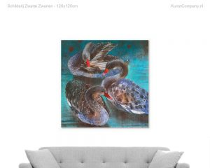 schilderij zwarte zwanen